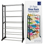Black 21 Pairs Shoe Rack