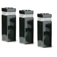 Set of 3 large black diamante candle holders