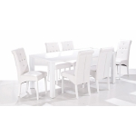 Monroe White High Gloss Dining Table With 6 White Chairs